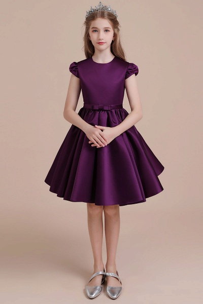 Graceful Cap Sleeve Satin A-line Flower Girl Dress_1
