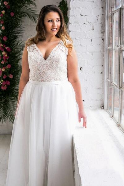 Plus Size V-neck Lace Tulle A-line Wedding Dress_5