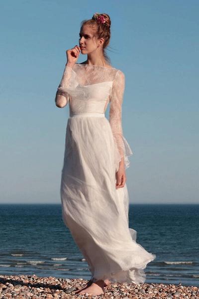 Open Back Long Sleeve Lace A-line Wedding Dress_1
