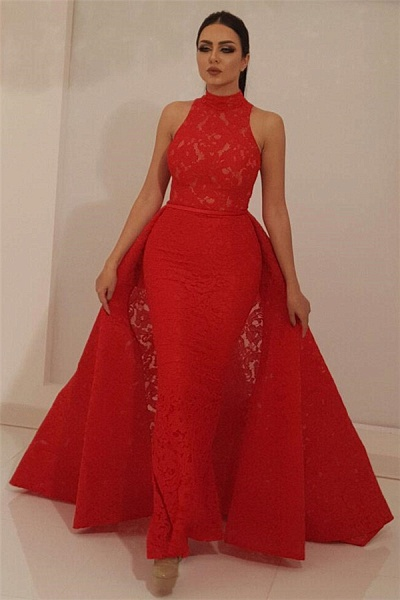 Marvelous High Neck Lace Mermaid Prom Dress_1
