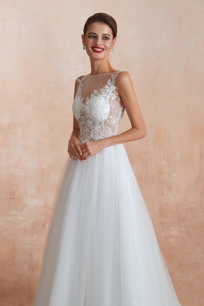 Graceful Sequins Tulle A-line Wedding Dress_9