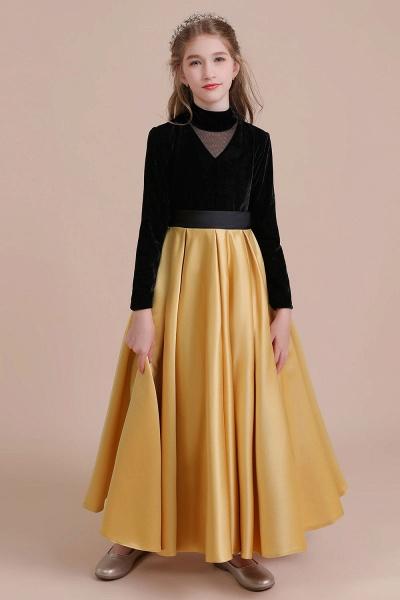 High-neck Velvet Satin A-line Flower Girl Dress_1