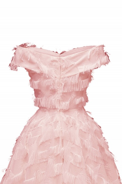 Sexy off-the-shoulder Artifical Feather Princess Vintage Homecoming Dresses | Womens Retro A-line Pink Cocktail Dress_11
