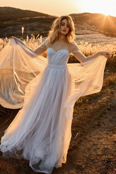 Latest Illusion Long Sleeve Tulle Wedding Dress_1