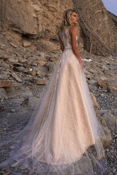Eye-catching Lace Tulle A-line Wedding Dress_4