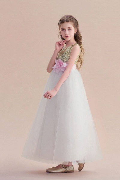 Sequins Tulle High-waisted A-line Flower Girl Dress_7