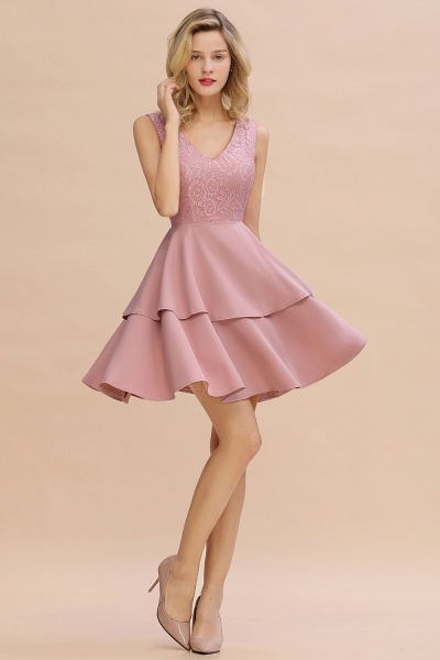 Sexy V-neck V-back Knee Length Homecoming Dress with Ruffle Skirt_13