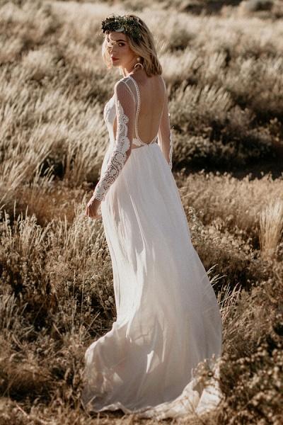 Open Back Long Sleeve Chiffon A-line Wedding Dress_4