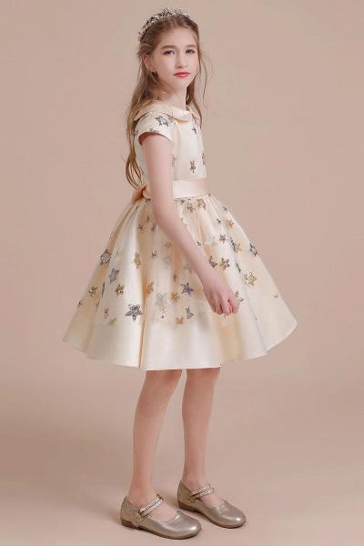 Cap Sleeve Star Sequins Tulle Flower Girl Dress_7