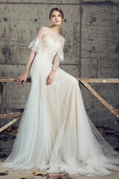 Illusion Long Sleeve Appliques Tulle Wedding Dress_5