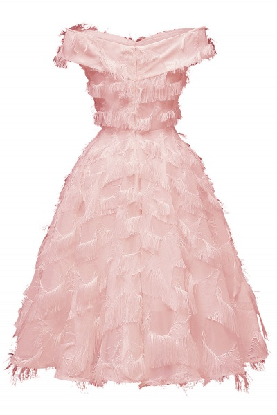 Sexy off-the-shoulder Artifical Feather Princess Vintage Homecoming Dresses | Womens Retro A-line Pink Cocktail Dress_8