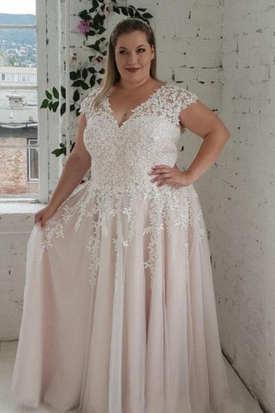 Plus Size Lace-up Short Sleeve A-line Wedding Dress_3