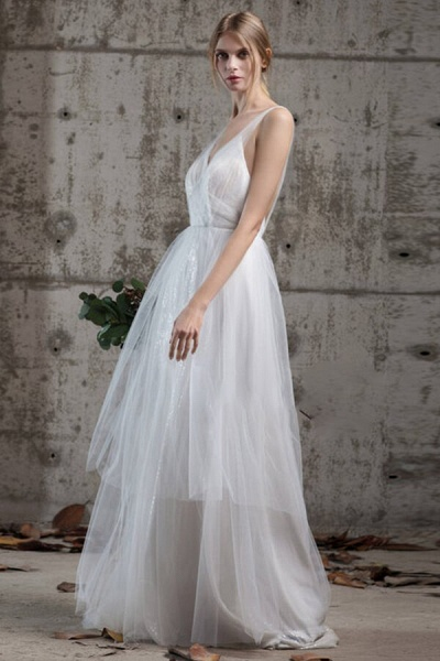 Affordable Ruffle Sequins Tulle Wedding Dress_3
