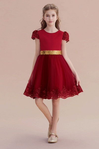 Cap Sleeve Bow Knee Length A-line Flower Girl Dress