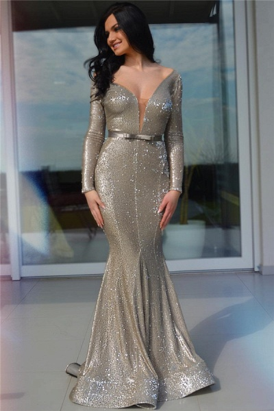 Glorious V-neck Sequined Mermaid Prom Dress_1