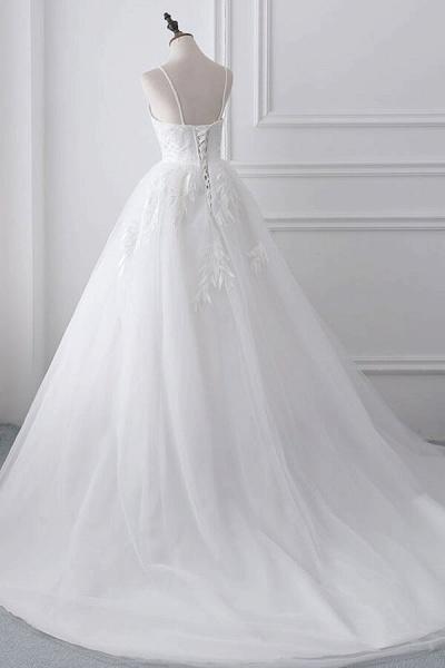 Spaghetti Strap Tulle Ball Gown Wedding Dress_3