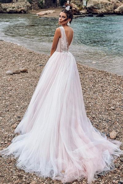 Ruffle Chapel Train Tulle A-line Wedding Dress_3