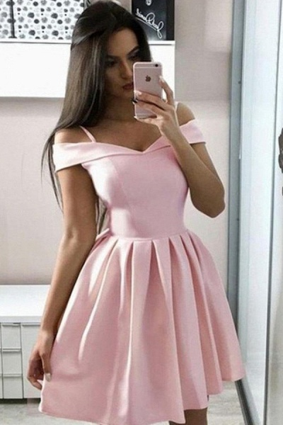 Simple Off the Shoulder Pink Homecoming Dress_1