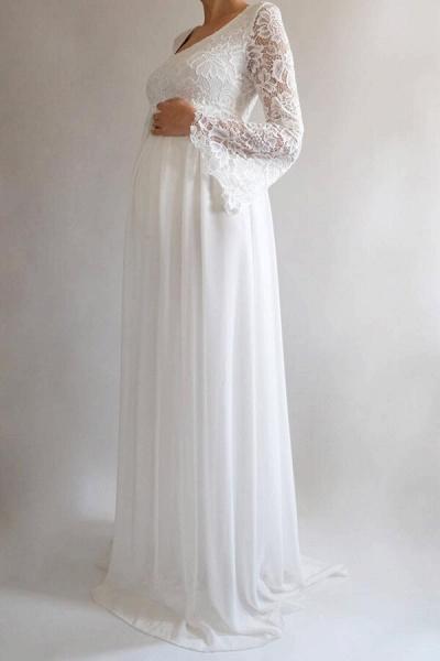Elegant Long Sleeve Chiffon Lace Wedding Dress_4