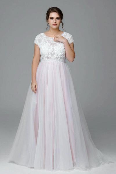 Plus Size Short Sleeve Lace Tulle Wedding Dress_1