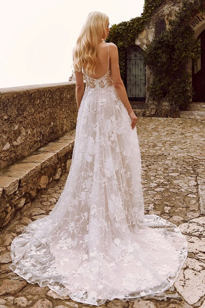 V-neck Spaghetti Strap A-line Tulle Wedding Dress_4