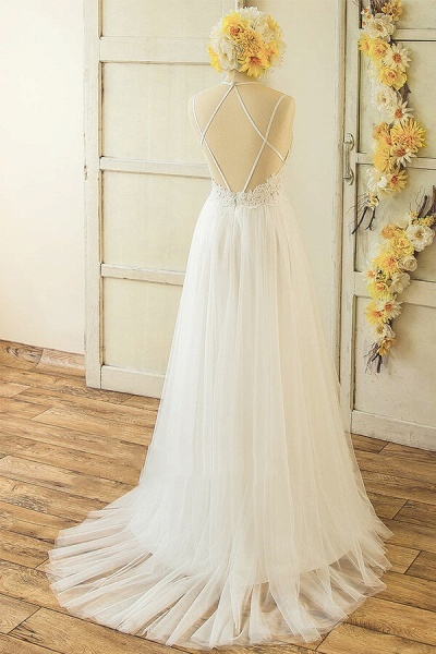 Elegant Appliques Tulle A-line Wedding Dress_3