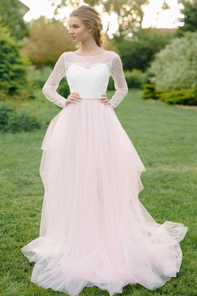 Chic Illusion Long Sleeve Lace Tulle Wedding Dress_3