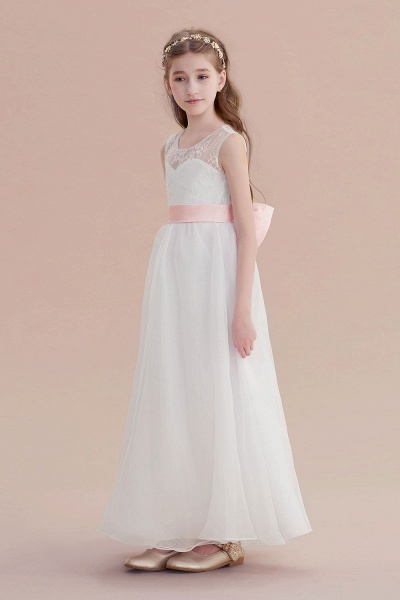 Illusion Lace Tulle A-line Flower Girl Dress_4