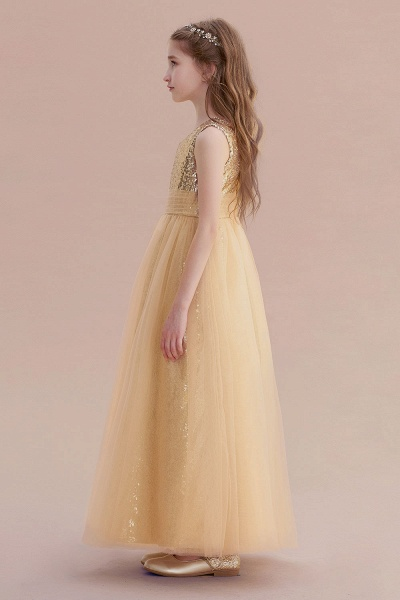 Awesome Sequins Tulle Flower Girl Dress_6