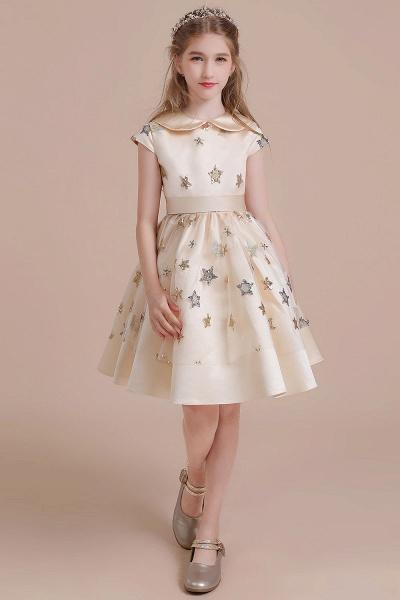 Cap Sleeve Star Sequins Tulle Flower Girl Dress_4