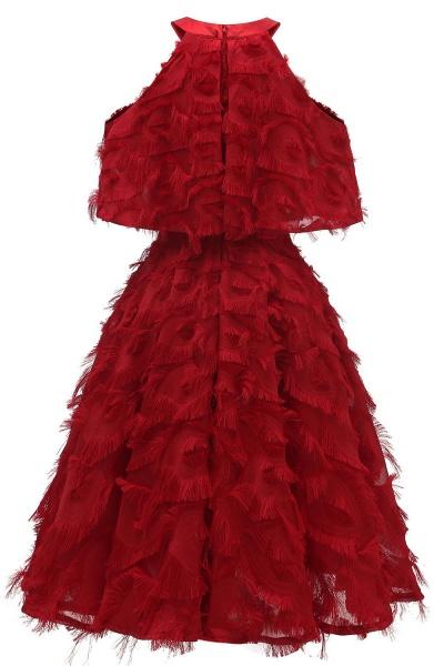 High neck Elegant Crew Neck Artificial Feather Dress Burgundy Princess Midi Dresses_12