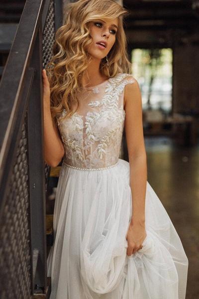 Elegant Tulle Appliques A-line Wedding Dress_6