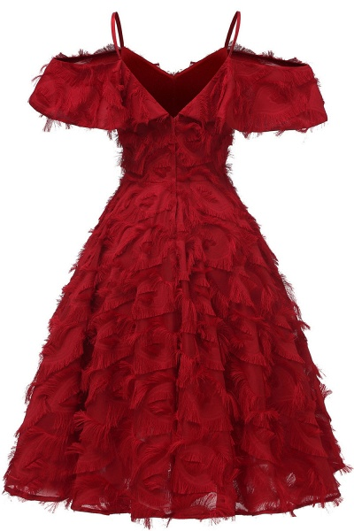 New Spaghetti Straps Artifical Feather Princess Vintage Dresses for Homecoming | Womens Retro A-line Burgundy Cocktail Dress_3