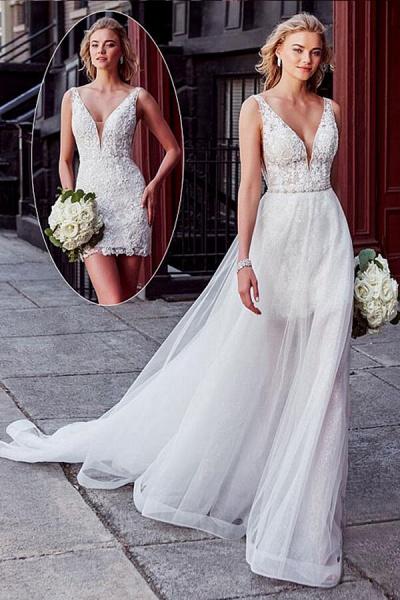 V-neck Lace Chapel Train Organza Wedding Dress_1