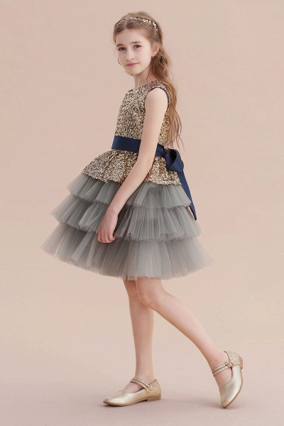 Sequins Tulle A-line Knee Length Flower Girl Dress_4
