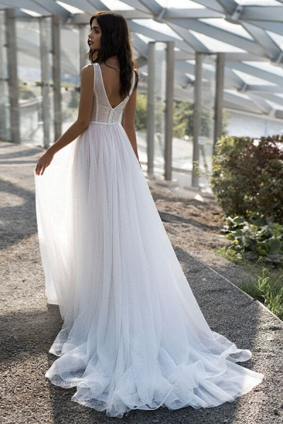 Awesome Sequins Tulle A-line Wedding Dress_3
