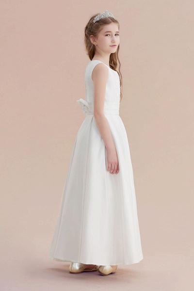 Simple A-line Satin Flower Girl Dress_3