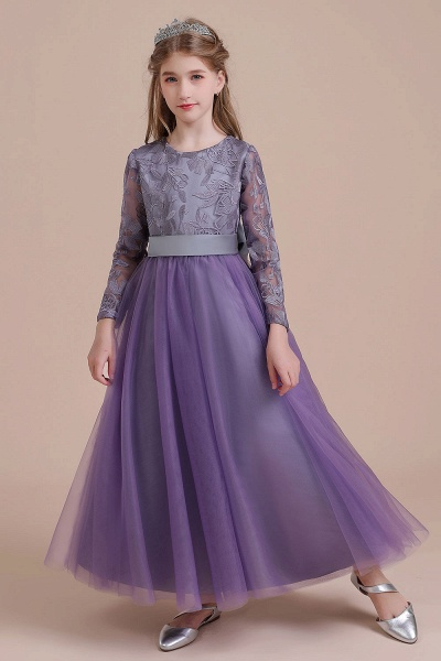 Long Sleeve A-line Ankle Length Flower Girl Dress