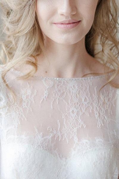 Amazing Sheer Lace Tulle Floor Length Wedding Dress_8