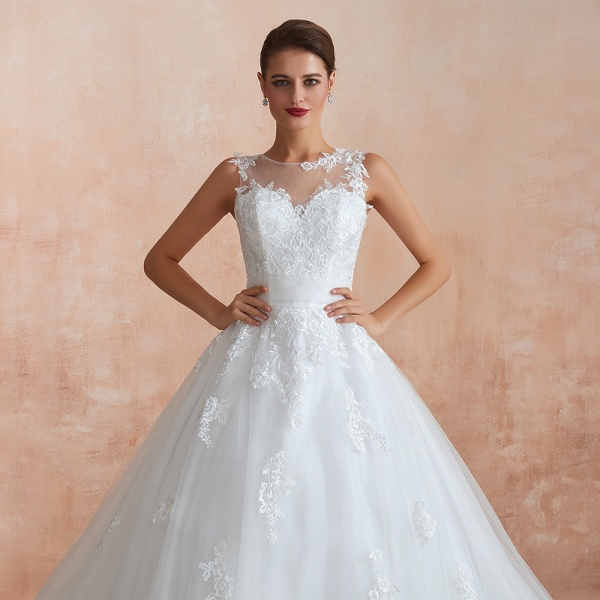 Amazing Illusion Appliques Tulle Wedding Dress_9