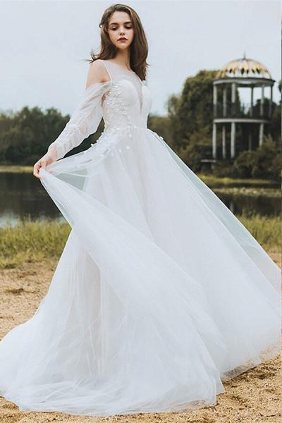 Chic Long Sleeve Cold-shoulder Tulle Wedding Dress_5