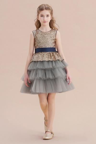 Sequins Tulle A-line Knee Length Flower Girl Dress_1