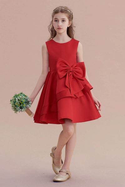 Chic Bow Satin Knee Length Flower Girl Dress_1