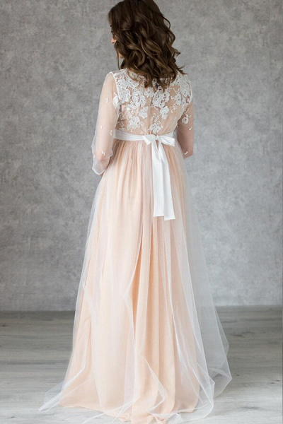 Graceful Applique Floor Length Tulle Wedding Dress_3
