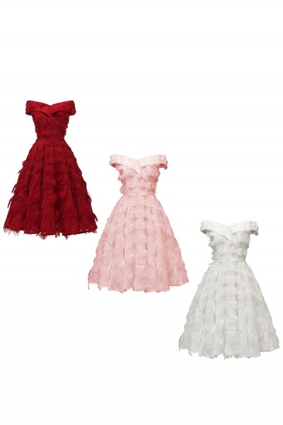 Sexy off-the-shoulder Artifical Feather Princess Vintage Homecoming Dresses | Womens Retro A-line Pink Cocktail Dress_16