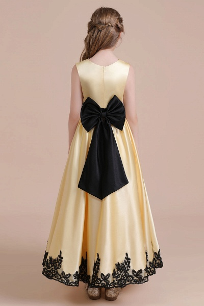 Chic Bow Appliques Satin A-line Flower Girl Dress_3