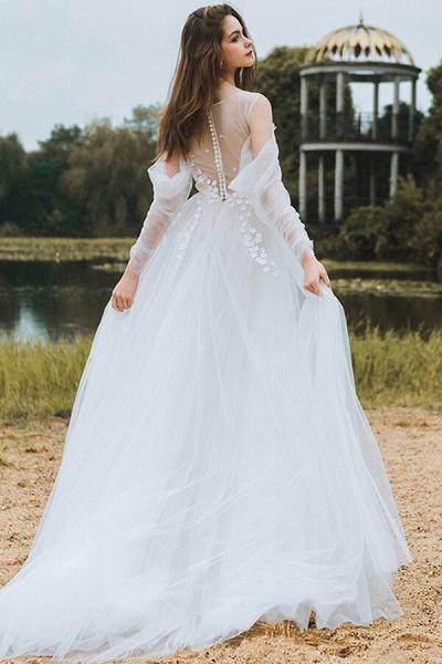 Chic Long Sleeve Cold-shoulder Tulle Wedding Dress_3