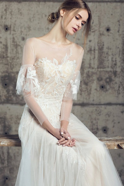 Illusion Long Sleeve Appliques Tulle Wedding Dress_6