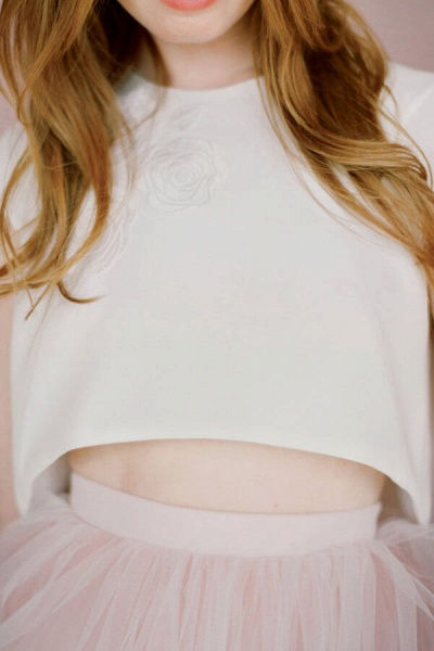 Latest Short Sleeve Tulle Two Piece Wedding Dress_4