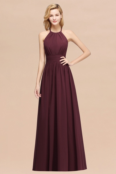 A-line Chiffon Appliques Halter Sleeveless Floor-Length Bridesmaid Dresses with Ruffles_47